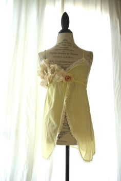 Romantic Cami Tank top, womens clothing, shabby chic yellow, Lace shirt, vintage camisole, gypsy cowgirl
