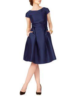 FOUR FLAVOR - SHIVA Cocktailkleid aus schimmerndem Taft in dunkelblau für Damen | 4F.de