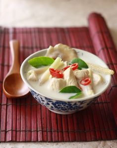 Tom Kha Gai (Thai Chicken Galangal Soup) by SeasonWithSpice.com  I haven't tried this version yet.  I have an old favorite that I don't know how to pin.
