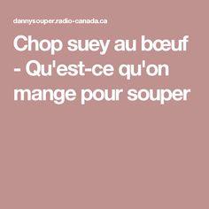 Chop suey au bœuf - Qu'est-ce qu'on mange pour souper