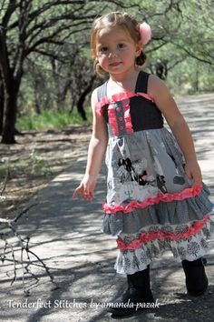 Girl's Boutique Ruffle dress PDF pattern tutorial for children, babies and toddlers Malibu Mega Ruffle Dress INSTANT DOWNLOAD by TenderfeetStitches - #DIY #Crafts #Recipes