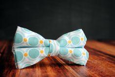 Aqua and Peach/Orange Polka Dots Men's SelfTie Freestyle PreTied Bow Tie  by stellaEMHaberdashery, $32.00