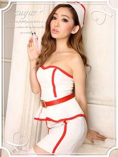 【ハロウィン】胸盛りバッチリな白衣の天使♪ベアミニタイプのセクシーナースワンピ★コスプレセット[839-kn]