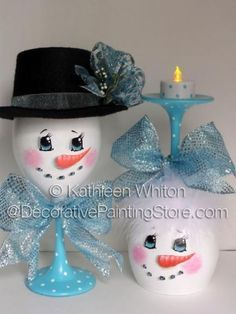 Snowman Wine Glasses Pattern - Kathleen Whiton - PDF DOWNLOAD