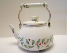 Lenox Holiday Vintage Tea Kettle Ivory Enamel Finish Holly Berry Design Lenox Collectible