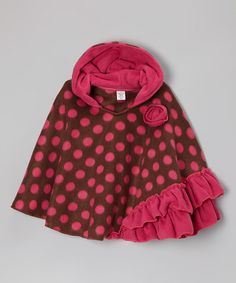 Take a look at this Raspberry Cocoa Polka Dot Fleece Poncho - Infant, Toddler & Girls by Beary Basics on #zulily today!