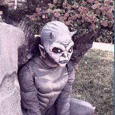 Gargoyle - Made of stone spray-painted pre-made pieces. Batman costume body. Alien prosthestic, bald cap, devil horns, elf ears. Makeup on lower face. And fairy wings.