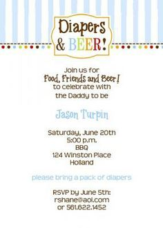 "Blue and White classic stripes Diaper and Beer Daddy Shower Invitation-need it to say ""baby Shower?"" we can edit all wording. From Little Angel Announcements"