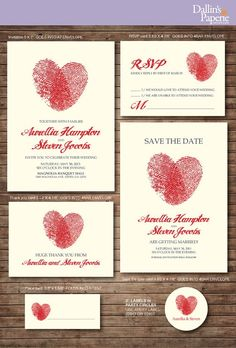 DIY wedding Thank you card - Wedding printable Invitations, Finger print Heart cards for wedding, Creative handmade wedding place cards