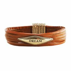 """Dream"" Tan Leather Bracelet, available at #HelzbergDiamonds"