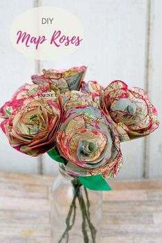 For a lovely alternative decoration, a tutorial for how to make some beautiful map roses. The paper flowers also make for a lovely homemade valentine's gift Diy Flowers, Fabric Flowers, Paper Flowers, Ribbon Flower, Map Crafts, Crafts For Kids, Diy Paper, Paper Crafting, Craft Tutorials