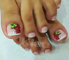 Niñas Pedicure Designs, Pedicure Nail Art, Toe Nail Designs, Toe Nail Art, Easy Nail Art, Acrylic Nails, Christmas Nail Art Designs, Christmas Nails, Love Nails