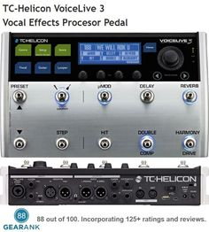 TC-Helicon VoiceLive 3 - one of the highest rated Vocal Effects Pedals. Key Features: - Huge number of vocal effects - Built-in guitar effects and amp modeling - Built-in Multi-track looper - Fully programmable - Multiple input options for vocals, guitars and other instruments. - 48V Phantom Power  Street Price: $599.99  For a detailed guide to vocal effects pedals see https://www.gearank.com/guides/vocal-effects-pedal