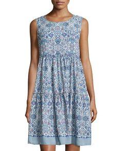 TCYLR Max Studio Sleeveless Floral-Print Tiered Dress, Stony/Navy