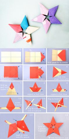 Sheriff star steps折纸手工~五角星(警长星)的折法。