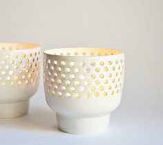 Arabia Finland Pierced Design Pair of White Porcelain Candle Holders | eBay
