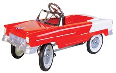 The Charm Company 55 Classic Red Metal Pedal Car has all steel construction, non-toxic lead-free enamel paint, adjustable pedals, solid rubber tires, and chrome detailing just like the original! Cars Uk, Pedal Cars, Rubber Tires, Go Kart, Kids Decor, Fire Trucks, My Favorite Color, Vintage Toys, Kids Toys