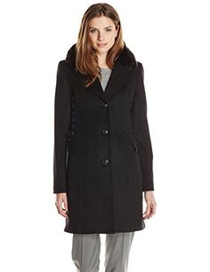 Betsey Johnson Womens Single Breasted Wool Coat with Corset Sides Black Large ** Check out this great product.