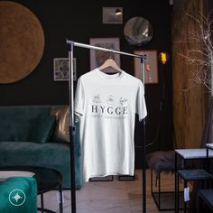 Wear Your HYGGE - Comfort - Peace - Connection - Danish Definition for Happiness - Scandinavian Folk Design - Short-Sleeve Unisex T-shirt Hygge, Fabric Weights, Peace, T Shirts For Women, Danish, Connection, Cotton, How To Wear, Life
