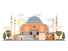 Landmarks of Istanbul - Hagia Sophia designed by Zeynep Kınlı Kurt. Famous Architecture, Islamic Architecture, Historical Architecture, Classic Architecture, Islamic Wallpaper, City Wallpaper, Hagia Sophia Istanbul, Ramadan Poster, Turkey Destinations