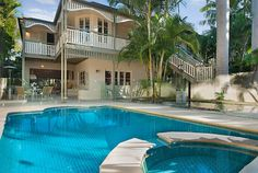 Queensland style house in Noosa. Indoor Outdoor Living, Outdoor Decor, 3 Bedroom House, Ideal Home, Beach House, Home And Garden, Real Estate, Swimming, Australia