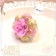 Rosy ring~ #clay #claycraft #miniature #fakesweets #sweetdeco #decoden #handmade #cute #kawaii #sweet #craft #diy #etsy #pastel #rose