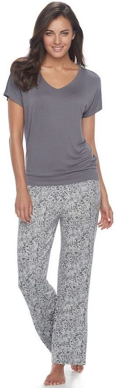 Apt. 9 Women's Apt. 9 Pajamas: Lace Back Tee & Pants PJ Set  #affiliate (scheduled via http://www.tailwindapp.com?utm_source=pinterest&utm_medium=twpin)