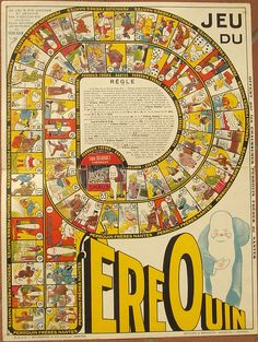 Jeu du Pere Ouin 19-- Percorso di 63 caselle numerate Baudrier P. Francia-Nantes XX secolo (1°-2°/4) Vintage Board Games, Game Boards, Optical Illusions, Jigsaw Puzzles, Vintage World Maps, Sports, Image, Design, Board Games