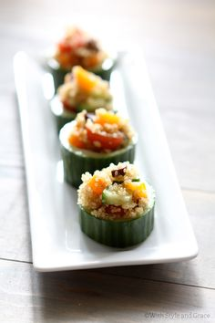 Quinoa Stuffed Cucumber by withstyle.me #Appetizer #Quinoa #Cucumber #withstyleme