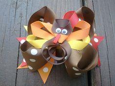 Thanksgiving Hair Bow Turkey hair bow fall by KaitlynRoseClipsbows, $9.99