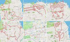 It's street art! San Francisco runner creates drawings using GPS tracker on Strava Create Drawing, Batman Logo, Farm Hero Saga, Map Art, Street Art, San Francisco, Mail Online, Daily Mail, Drawings