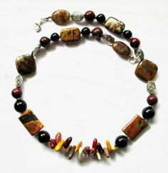 Maggies Beadery Mens Brown Jasper and Quartz Beaded Necklace 19 Inches