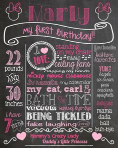 Minnie Mouse First Birthday Chalkboard Poster Minnie 1st Birthday Chalk Board Sign Printable Pink Minnie Mouse Birthday Photo Prop