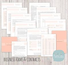 Photography Business Forms and Contracts  by #PaperLarkDesigns, $37.95 Includes wedding photography contract, session contract, photo release, minor model release, invoices and wedding checklists and more