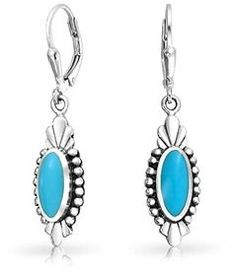 Bling Jewelry Bali Style Reconstituted Turquoise Sterling Silver Leverback Earrings.