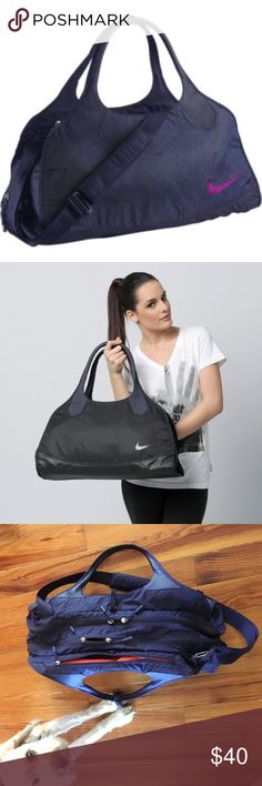Nike Sami 3.0 Large Club Bag Amazing HUGE bag with lots of awesome pockets. In amazing condition. Used extremely lightly. Was too big for my needs. Blue/purple with orange interior. Handles and removable cross-body strap with cushion. Excellent bag. Nike Bags