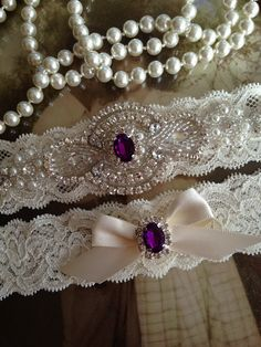 SALE-Wedding Garter-Garter-Bridal garter-Ivory by thehoneybeeshop