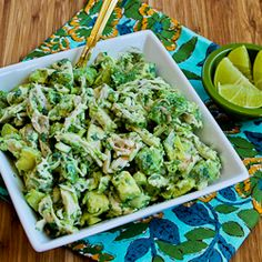 Recipe for Chicken and Avocado Salad with Lime and Cilantro serve in a lettuce cup for a delicious & healthy lunch.