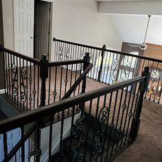 Iron balusters Iron stair parts Iron stair railing Parts Iron Staircase, Wrought Iron Stairs, Metal Stairs, Stair Railing Parts, Parts Of Stairs, Iron Spindles, Stair Spindles, Oak Newel Post, Newel Posts