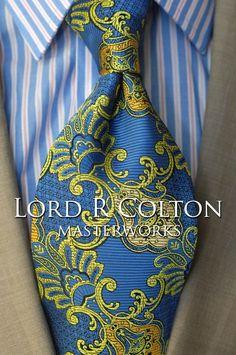 Lord R Colton Masterworks Tie - Cartagena Marina & Lime Silk Necktie - $195 New #LordRColton #NeckTie