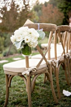 Fresh white flowers in mason jars: http://www.stylemepretty.com/little-black-book-blog/2015/01/22/elegant-summer-wedding-at-calistoga-ranch/   Photography: Laurie Bailey - http://lauriebailey.com/