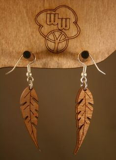 Feather Earrings - wood ♥