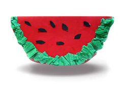 Watermelon craft with tissue paper.