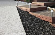 Merbau Decking Box Steps & Exposed aggregate driveway | by ISCAPE Landscaping