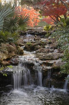 Three main elements found in every Japanese garden are: water, rocks and plants. This article focuses on the arrangement of rocks, their aesthetic qualities and their many pratical uses within your garden design. Beautiful Waterfalls, Beautiful Landscapes, Beautiful Gardens, Backyard Water Feature, Ponds Backyard, Backyard Waterfalls, Garden Ponds, Koi Ponds, Terrace Garden