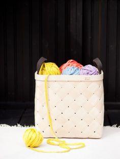 Lastu birch basket, large - double layers of birch + handles made of wool felt