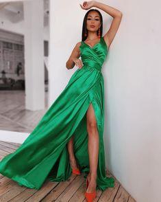 Satin Dresses, Formal Dresses, Wrap Dress, Twitter, Green, Fashion, Dresses For Formal, Moda, Formal Gowns