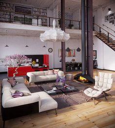 Una cocina en el salón o un salón en la cocina? Todo queda integrado en un loft: la zona para cocinar, comer, relajarse o reunirse. http://www.originalhouse.info/