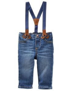Baby Boy Suspender Jeans - Derby Wash from OshKosh B'gosh. Shop clothing & accessories from a trusted name in kids, toddlers, and baby clothes.