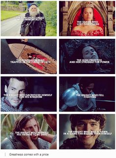 Merlin. Lancelot's should say sacrificed for Arthur/Gwen/Merlin